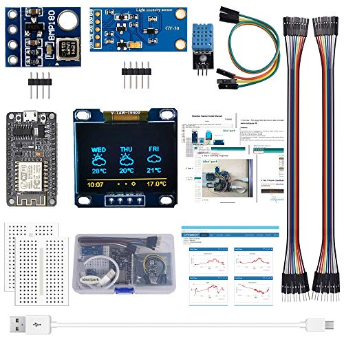 ESP8266 Weather Station Kit with DHT11 Temperature Humidity BMP180 Atmosphetic Pressure BH1750FVI Light Sensor 0.96