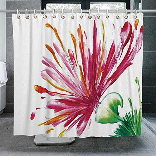 ALUONI Watercolor Flower House Decor Quick Drying Shower Curtain,Opened Out Asiatic Oriental Lily Freesia Florets Home Art Bathroom Curtain with Hooks,72