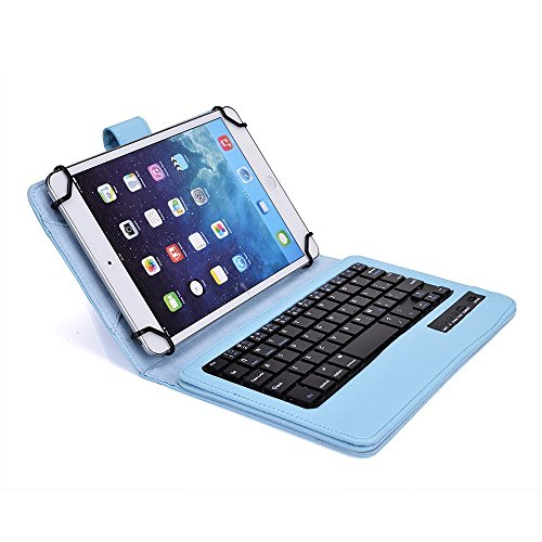 Tsmine Nextbook Ares 8 Tablet Wireless Keyboard Case - Universal 2-in-1 Detachable Wireless keyboard [QWERTY] w/Folio Leather Case Stand Cover [NOT include Tablet], Light Blue by Tsmine (Image #5)