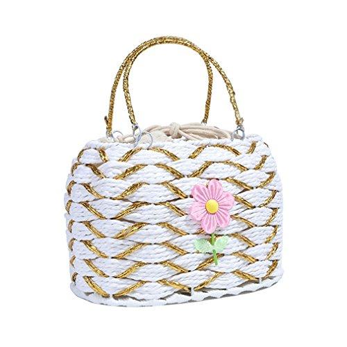- WIEJDHJ Bohemian Handmadedesign Woven Straw Beach Tote Handbags Women's Rattan Box Bags Basket With Pocket Beach Bag Rural White