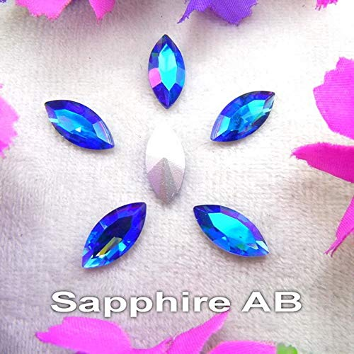 - Pukido AB Colors 8 Sizes Navette Horse Eye Marquis Shape Glass Glue on Crystals Rhinestone Ornament Accessories DIY Trimming - (Color: A8 Sapphire AB, Size: 4x8mm 50pcs)