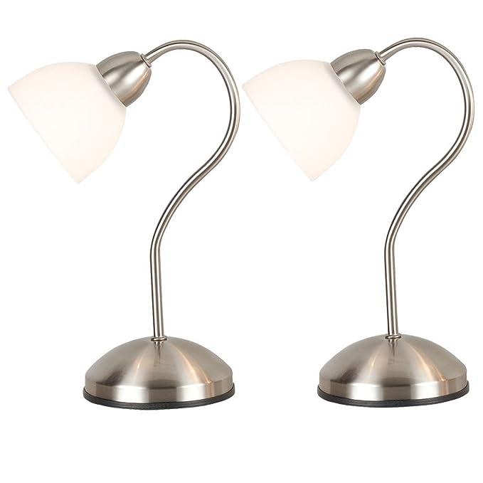 2er Set Tisch Leuchten Touch Schalter Arbeits Zimmer Glas Lese Lampen satiniert