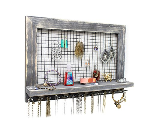 Extra Jewelry (Extra Large Rustic Wood Jewelry Organizer for Earrings/Necklaces/Bracelets/Accessories (Large Rustic - Rods))