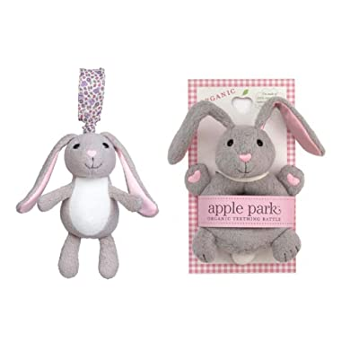Apple Park Gray Bunny Rattle and Gray Bunny Stroller Toy Bundle 2 Piece: Toys & Games