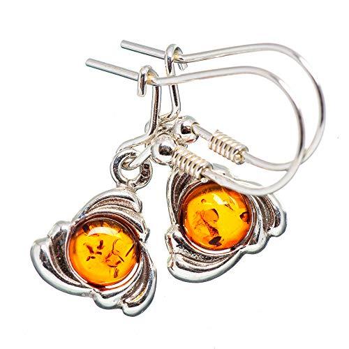 "Genuine Baltic Amber Celtic 925 Sterling Silver Earrings 1 1/4"" - Handmade Boho Vintage Jewelry EARR374386 from Ana Silver"