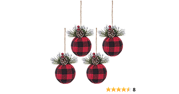 Gold Glitter Christmas Tree wRed Black Buffalo Plaid Bundle /& Natural Merry Christmas set of 3 Wired Ribbons