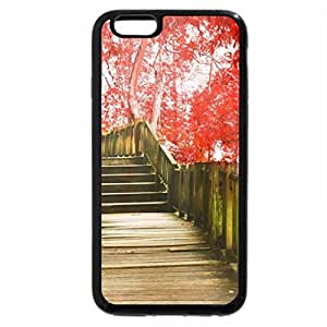 iPhone 6S / iPhone 6 Case (Black) boardwalk through a red autumn forest