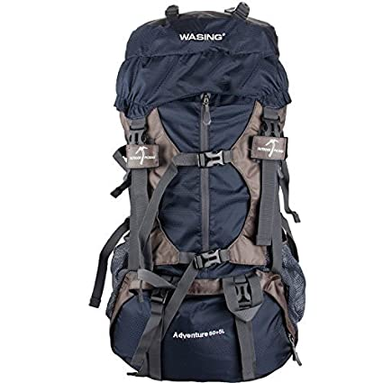 a08ac8c406 WASING 55L Internal Frame Backpack for Outdoor Hiking Travel Climbing  Camping Mountaineering with Rain Cover WS