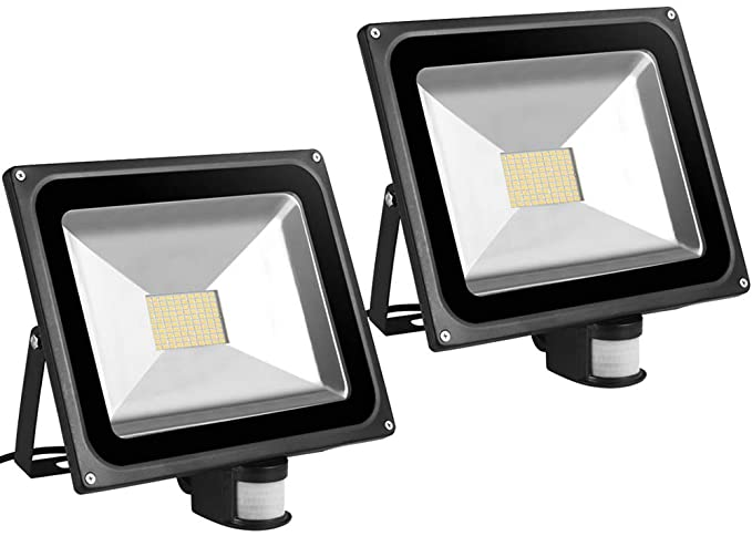 2X 80W SMD Foco LED con Sensor Movimiento,Proyector LED Exterior,Blanco Calido con