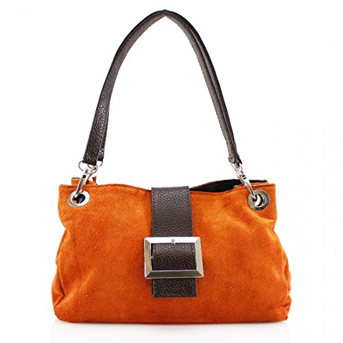 LEATHER Shoulder ON Buckle SALE SUEDE Orange for NEW Women's Bag ITALIAN EcBaqgWw