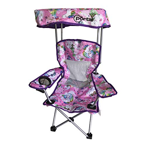Kid's Folding Chair with Canopy and Durable Carry Bag Purple Unicorn ()
