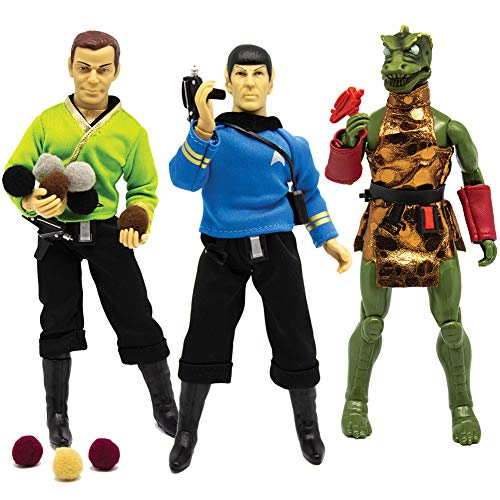 "Mego Star Trek Action Figure Set - 8"" Vinyl Kirk, Spock, and Glowing Gorn"