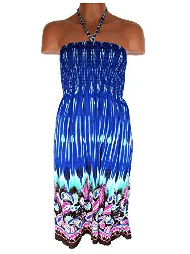 Sommerkleid, Neckholder, aus weichfließender Viskose, Muster, Royalblau, RUT C-77
