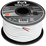 Mediabridge 12AWG 2-Conductor Speaker Wire (200 Feet, White) - 99.9% Oxygen Free Copper – ETL Listed & CL2 Rated for In-Wall Use (Part# SW-12X2-200-WH )