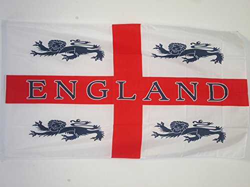 ENGLAND 4 LIONS SLEEVED FLAG 3' x 5' - ENGLISH LIONS FLAGS 9