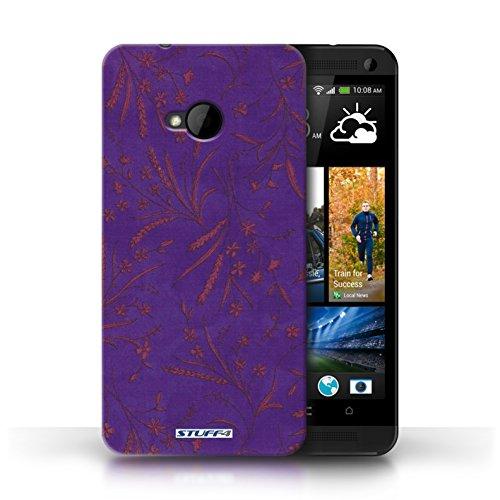 Etui pour HTC One/1 M7 / Violet/Rose conception / Collection de Motif floral blé