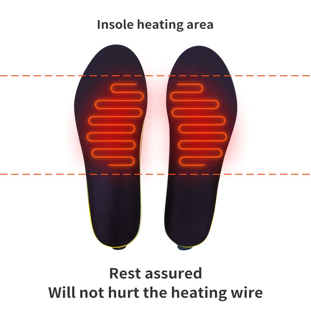 Long Lasting Safe 2000mAh Built-in Battery Heated Insoles Wireless Remote Controlled Insoles Pain Relief and Performance Winter Sport Fishing Skiing Size:US5~12 J-Jinpei Heated Insoles Foot Warmers