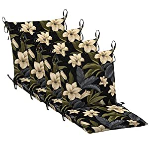 """Set of 4 Mid Back Outdoor Dining Chair Cushion 20"""" x 36"""" x 3"""" H-19"""" in Polyester Fabric Black Tropical Blossom by Comfort Classics Inc."""