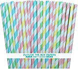 Outside the Box Papers Pastel Stripe Paper Straws 7.75 Inches 100 Pack Light Blue, Pink, Yellow, Mint Green, White