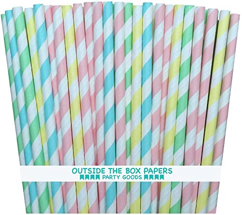 Outside the Box Papers Pastel Stripe Paper Straws