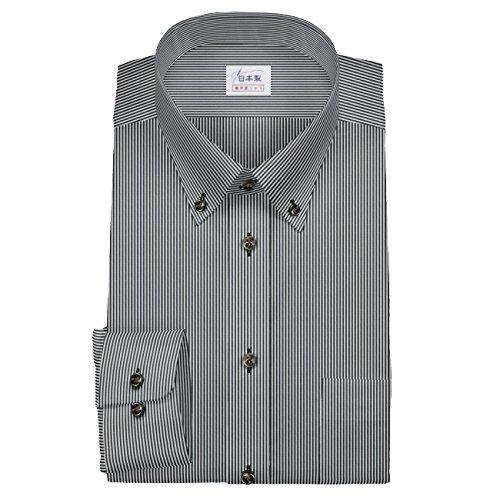 囲い本会議既婚ワイシャツ 軽井沢シャツ [A10KZB081]ボタンダウン (ショートポイント) 純綿 ブラックストライプ 茶色ボタン らくらくオーダー受注生産商品