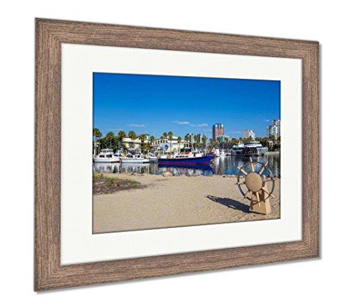 Ashley Framed Prints Long Beach Marina and City Skyline Long Beach Ca, Wall Art Home Decoration, Color, 30x35 (Frame Size), Rustic Barn Wood Frame, AG5619958