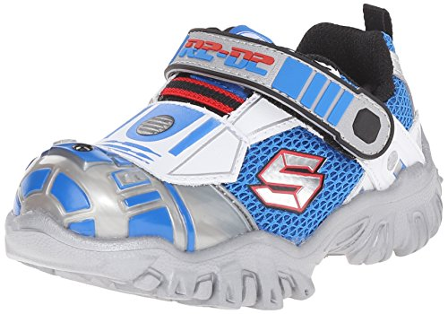 Skechers Kids Star Wars Damager III Astromech Light-Up Sneaker (Toddler/Little Kid),Silver/Blue,2 M US Little Kid
