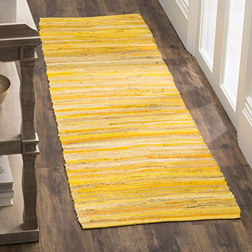 (Safavieh Rag Rug Collection RAR130H Hand-Woven Yellow and Multi Flatweave Cotton Runner (2'3