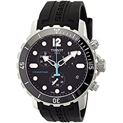 Tissot Men's 'Seastar' Swiss Quartz Stainless Steel and Silicone Casual Watch, Color:Black (Model: T0664171705700)
