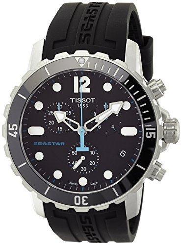 Tissot Men's T066.417.17.057.00 'Seastar 1000' Black Dial Black Rubber Strap Swiss Quartz...