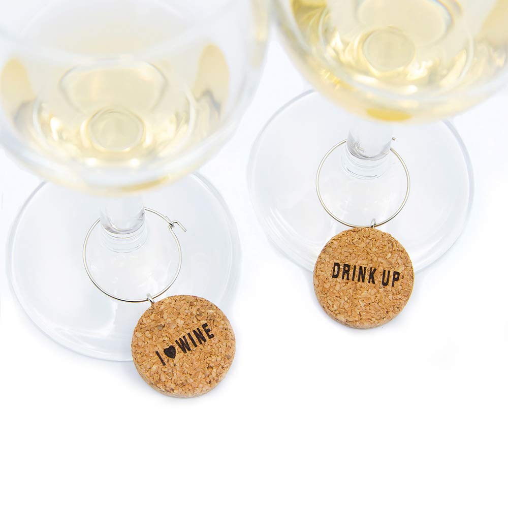 "Wine Glass Charms Natural cork Set of 6 ""Cheers"" themed Wine Glass Identifiers for Parties, Gatherings,Great Hostess Gift (cork) YupSip"