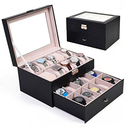 black-double-level-20-slots-leather-watch-box-with-drawer-wooden-organizer-display-case-storage-hold