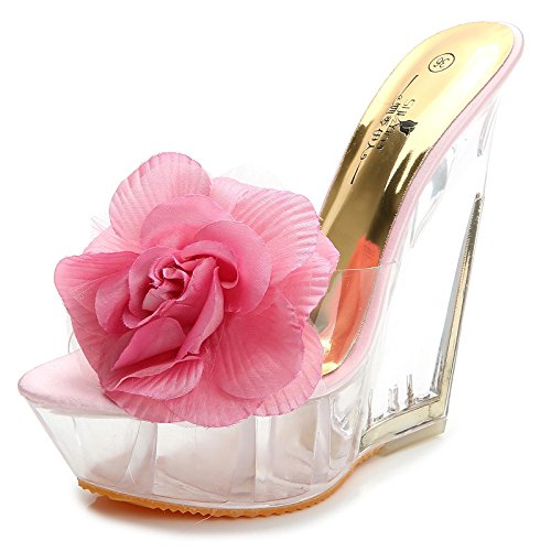 super cm XiaoGao transparentes tacon Adorno tacón Pink alto 14 Flores zapatilla wYq0YA