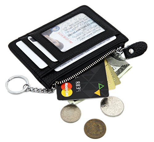Zipper Key Ring - Zhoma RFID Blocking Genuine Leather Wallet - Credit Card Holder with Key Ring and ID Window - Black