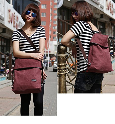 MOLLYGAN Multi-purpose Canvas Shoulder Bag Backpack School Bag Khaki by MOLLYGAN (Image #5)