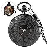 Vintage Black Quartz Pocket Watch with Chain Roman Numerals Scale Fob Watches for Men Women