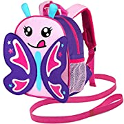 Toddler Backpack Leash, 9.5″ Safety Harness Butterfly Bag – Removable Tether