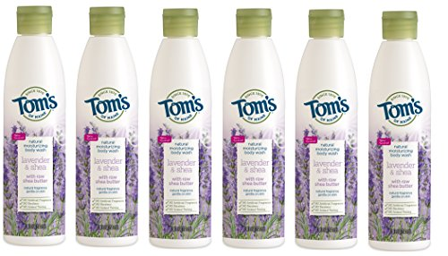 Tom's of Maine Natural Moisturizing Body Wash Soap with Raw Shea Butter, Lavender Tea Tree, 12 Ounce, 6 Count