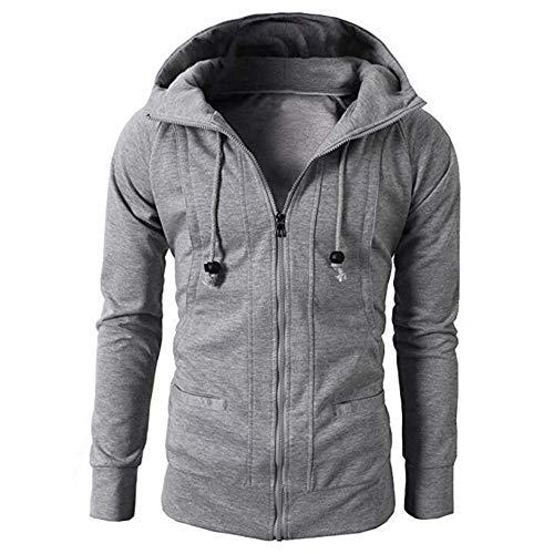 Men Hoodie Pullover,Vanvler Male Autumn Winter Jacket Long Sleeve Zipper Blouse Sport Tops Gray