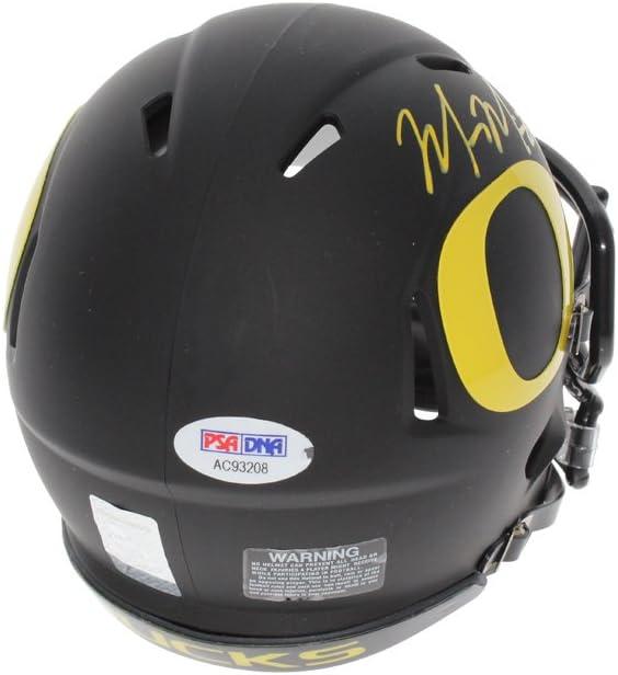 PSA//DNA Authentic Yellow Auto Marcus Mariota Autographed Signed Oregon Ducks Matte Black Speed Mini Helmet