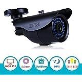"EWETON 1/3"" 960H 1000TVL CCTV Home Surveillance Camera 3.6mm Lens 36PCS Infrared LEDs IR Cut 100ft Night Vision Indoor Outdoor Weatherproof Security Camera (Metal Housing Black)"