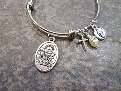 Child Size First Holy Communion adjustable bangle bracelet with cross and Miraculous Medal charms Design Childrens Bangle