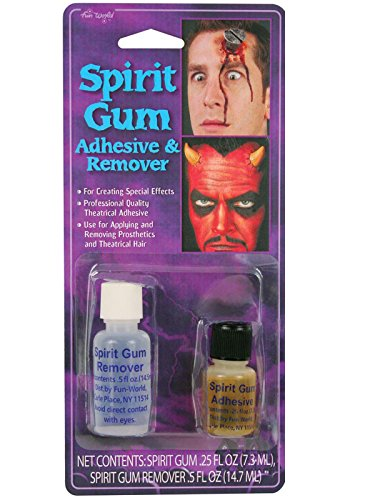 Fun World Unisex-Adult's Spirit Gum Adhesive and Remover Costume Makeup, Multi, Standard