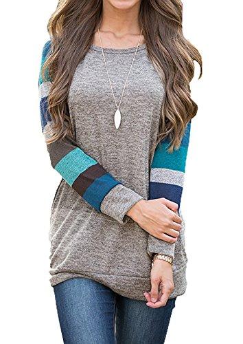 UMETINY Women's Cotton Knitted Long Sleeve Lightweight Tunic Sweatshirt Tops
