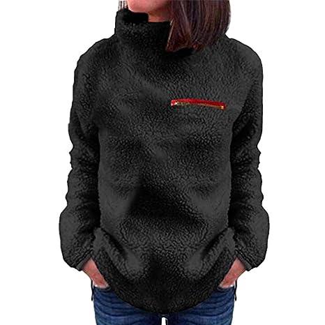Camisas de Mujer,Dragon868 Invierno cálido Mujeres Sólido Cremalleras Cuello Alto Sudadera Polar(Negro