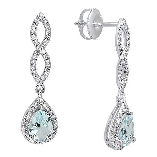 - Dazzlingrock Collection 14K 7X5 MM Each Pear Aquamarine & Round Diamond Ladies Infinity Dangling Drop Earrings, White Gold