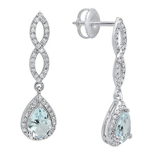 Aquamarine Dangling Earrings (14K White Gold 7X5 MM Each Pear Aquamarine & Round Diamond Ladies Infinity Dangling Drop Earrings)