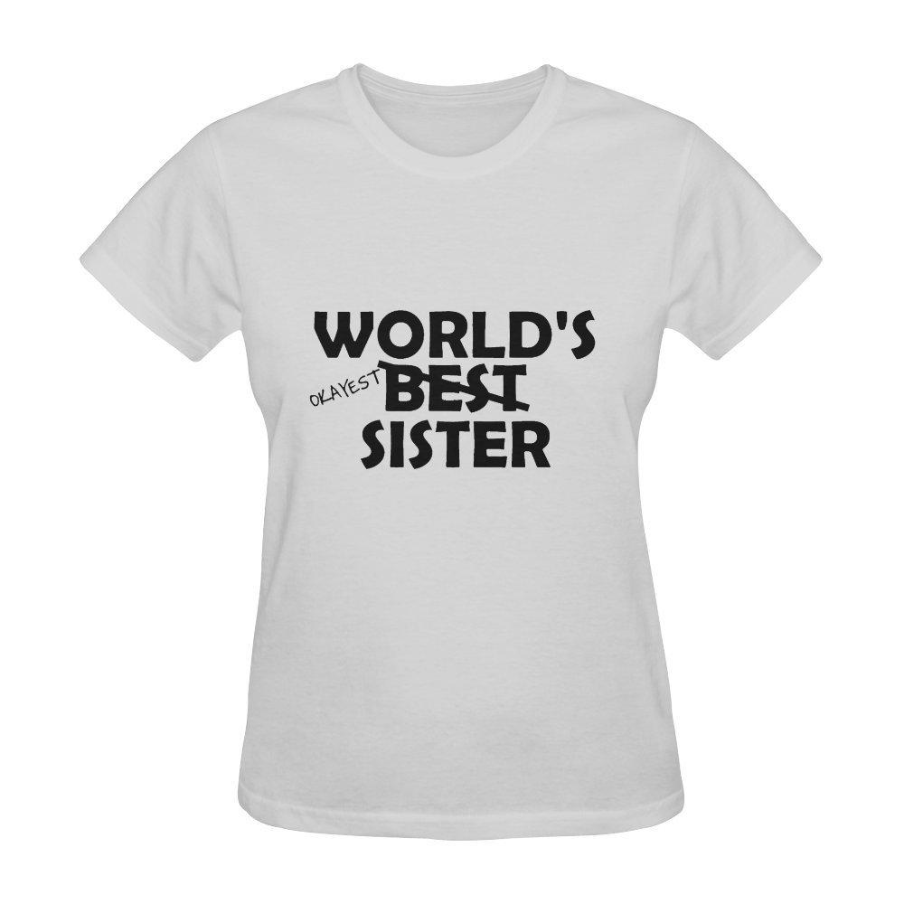 World's Okayest Sister Funny Women Ladies Short Sleeve T-Shirt Tee