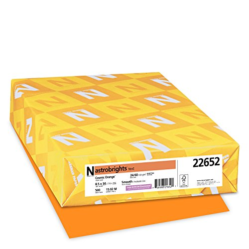 Wausau Astrobrights Heavy Duty Paper, 24 lb, 8.5 x 14 Inches, Cosmic Orange, 500 Sheets (22652)