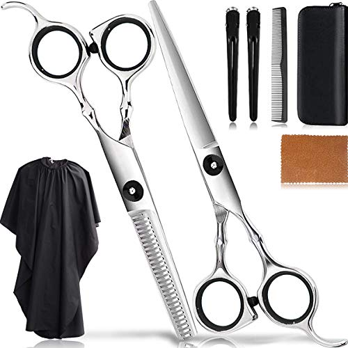 Hairdressing Scissors Kit Thinning Shears Hair Professional Hair Cutting Scissors Set Salon Barber Tools 8Pcs/Teeth Texturing Texturizing Stainless Steel Sharp Wide Tooth Contain Cape Clips Comb Black (Best Scissors For Cutting Hair At Home)